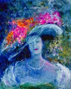 La dame au chapeau fleuri, 20 x 18